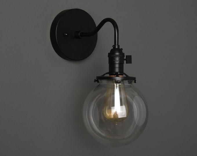 Wall Sconce - Matte Black - Mid Century - Modern - Industrial - Single Light - Clear Glass Globe - Bathroom Vanity - UL Listed [ALFORD]