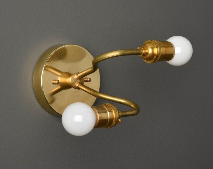 Industrial Vanity Light - Modern Wall Sconce - Raw Brass - Mid Century - Wall Light - Bathroom Vanity - UL Listed [SILVERTON]