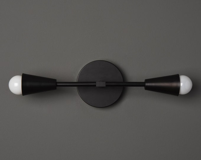 Modern Wall Light - Matte Black - Mid Century - Modern - Industrial - Bathroom Vanity - UL Listed [WALDEN]
