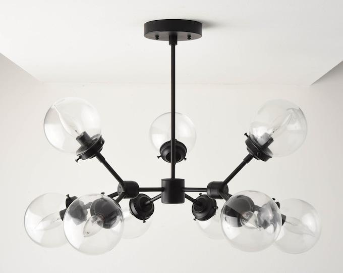 Modern Globe Chandelier - Matte Black - Mid Century - Industrial - Modern - Tree Branch - Candelabra - Globe - UL Listed [STOCKHOLM]