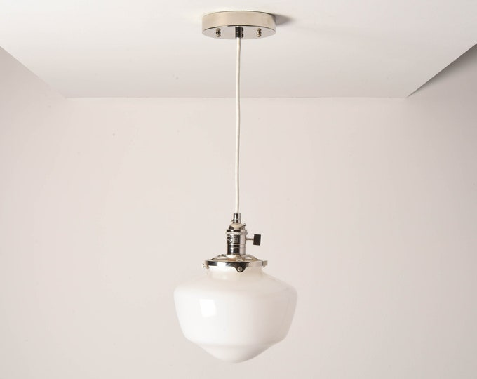 Augusta Pendant Light [Polished Nickel - Mid Century - Modern - Industrial - White - Schoolhouse Glass Globe - Cloth Wire - Ceiling Canopy]