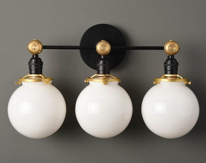 Modern Bathroom Globe Light - Black & Brass - Mid Century - Industrial - Bathroom Vanity - Glass Globes - Wall Light - UL Listed [PENSACOLA]