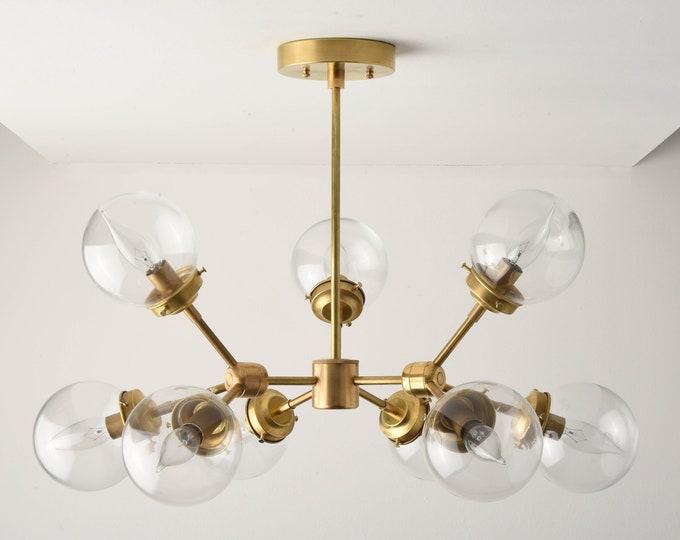 Modern Globe Chandelier - Raw Brass - Mid Century - Industrial - Modern - Tree Branch - Candelabra - Sputnik - Globe - UL Listed [STOCKHOLM]