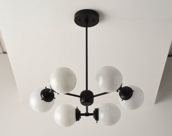 Chandelier - Matte Black - Mid Century - Industrial - Modern - Candelabra - 3 Arm - 6 Light - White Globe - Bubbly - UL Listed [BARCELONA]