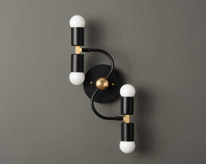 Modern Bathroom Light - Mid Century Vanity Sconce - Black & Brass - Industrial - Wall Light - Bathroom Vanity - UL Listed [ALVARADO]