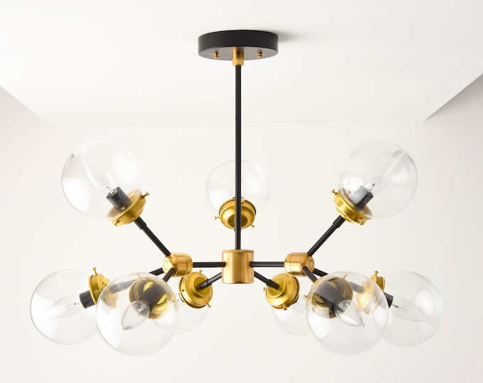 Ceiling Light - Chandelier - Black & Brass - Mid Century - Industrial - Modern - Tree Branch - Globe - UL Listed [STOCKHOLM]