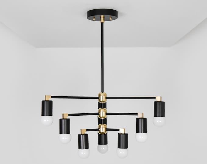 Modern Chandelier Light - Black & Brass - Mid Century - Industrial - Modern - Geometric - Ceiling Light - UL Listed [LONDON]