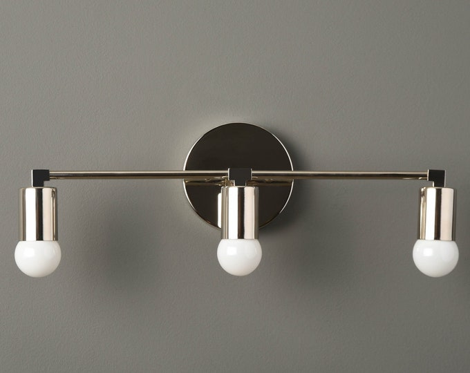 Modern Bathroom Light - Polished Nickel - Mid Century - Modern - Industrial - Wall Light - Bathroom Vanity - UL Listed [AVON]