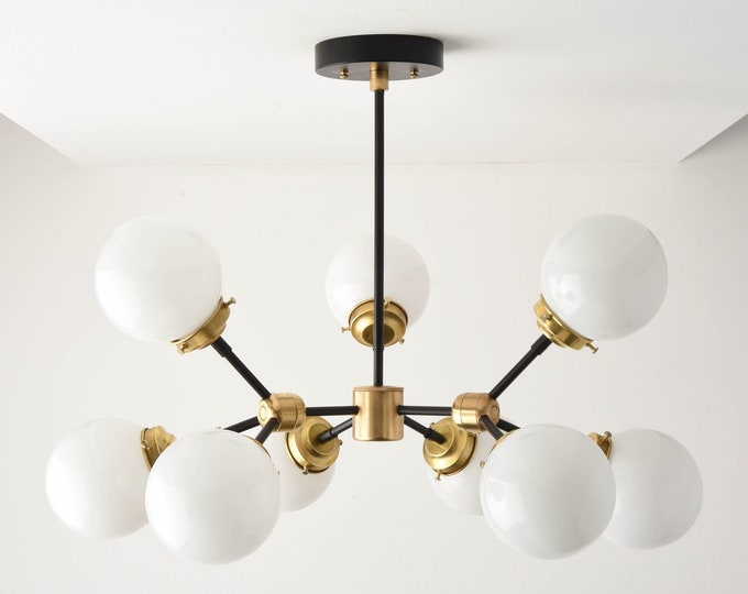 Modern Globe Chandelier - Black & Gold Sputnik Light - Mid Century - Industrial - Tree Branch - Candelabra - Globe - UL Listed [STOCKHOLM]