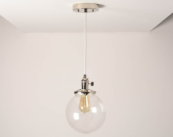 Toledo Pendant Light [Polished Nickel - Mid Century - Modern - Industrial - Clear Glass Globe - Cloth Wire - Ceiling Canopy Mount - Edison]