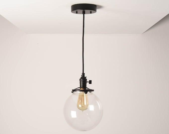 Toledo Pendant Light [Matte Black - Mid Century - Modern - Industrial - Clear Glass Globe - Cloth Wire - Ceiling Canopy Mount - Edison]