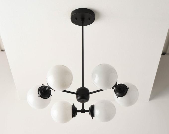 Modern Globe Chandelier - Matte Black - Mid Century - Industrial - Modern - Candelabra - Bubbly - UL Listed [BARCELONA]