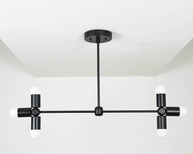 Chandelier - Matte Black - Mid Century - Industrial - Modern - 6 Light - Hanging - Large - Lighting - UL Listed [LIMA]