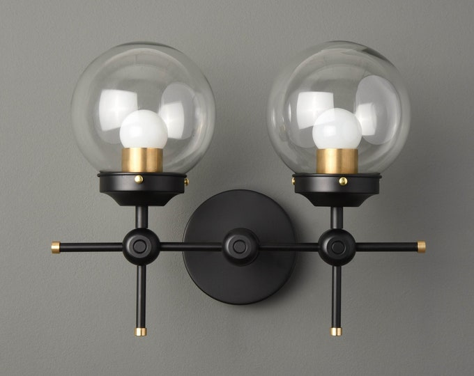 Wall Sconce - Black & Brass - Mid Century - Modern - Industrial - Wall Light - 6 Inch Glass Globe - Bathroom Vanity - UL Listed [STARKE]