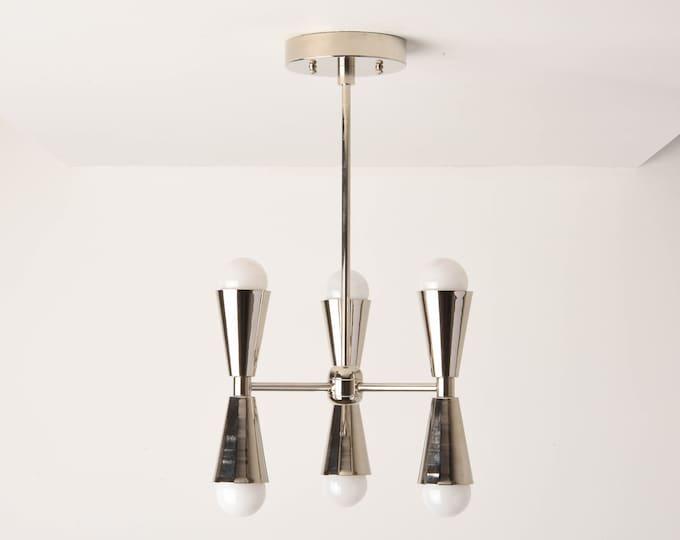 Chandelier - Polished Nickel - Mid Century - Industrial - Modern - Hanging - Lighting - 3 Arm - 6 Light - UL Listed [KATHMANDU]