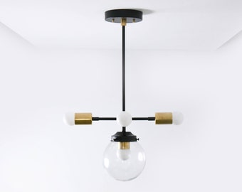 Boston Chandelier [Black & Brass - Mid Century - Industrial - Modern - 6 inch - Clear Globe - 5 Light - Hanging - Light - UL Listed]