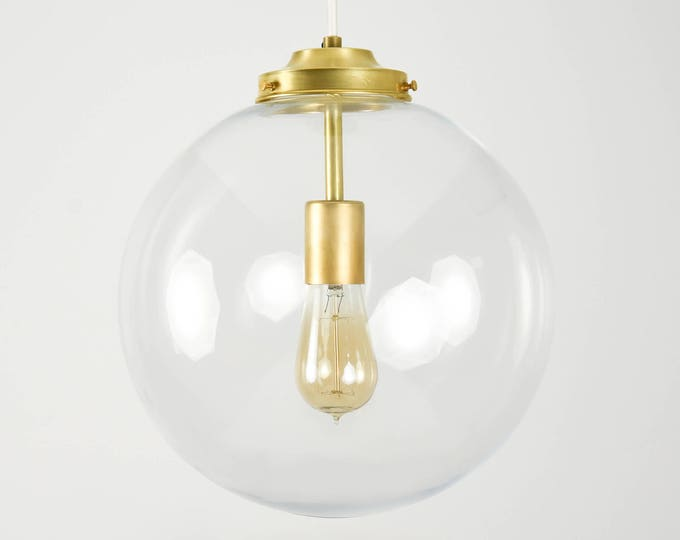Globe Pendant Light - Raw Brass - Mid Century - Modern - Industrial - Clear - Glass Globe - Cloth Wire - Kitchen Island - UL Listed [TACOMA]