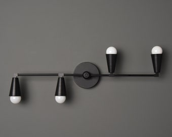 Albany Wall Sconce [Matte Black - Mid Century - Modern - Industrial - 4 Light - 4 Bulb - Cone Cover - Bathroom - Vanity - UL Listed]
