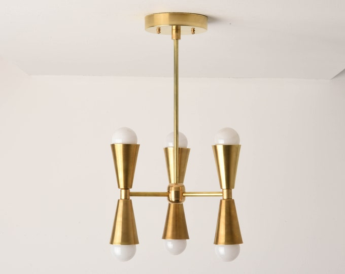 Chandelier Lighting - Gold Modern Hanging Light - Mid Century - Industrial - Hanging - Lighting - 3 Arm - 6 Light - UL Listed [KATHMANDU]