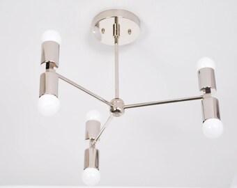 Chicago Chandelier [Polished Nickel - Mid Century - Industrial - Modern - Sputnik - Pinwheel - Hanging - 6 Light - 3 Arm - UL Listed]