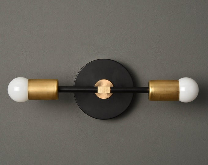 Modern Bathroom Light - Wall Sconce - Black & Brass - Mid Century - Modern - Industrial - Wall Light - Bathroom Vanity - UL Listed [SOCORRO]