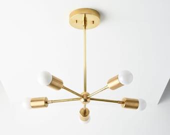 Sputnik Chandelier - Chandelier Lighting - Gold Hanging Light - Mid Century Modern - Industrial - Pinwheel - UL Listed [HOUSTON]