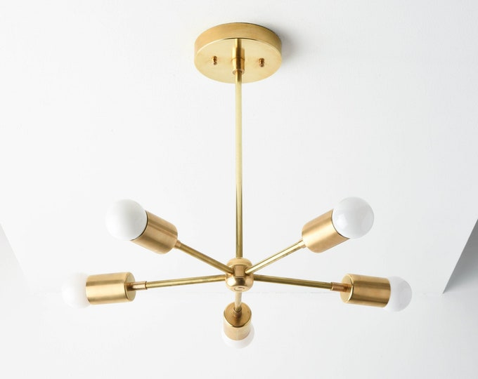 Sputnik Chandelier - Chandelier Lighting - Gold Hanging Light - Mid Century Modern - Industrial - Pinwheel - UL Listed [HOUSTON]