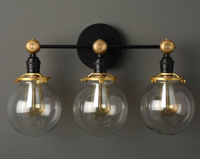 Wall Sconce - Black & Brass - Mid Century - Modern - Industrial - Bathroom Vanity - 6 Inch Glass Globe - Wall Light - UL Listed [PENSACOLA]