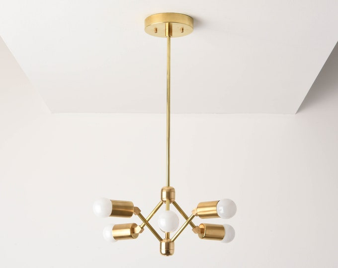 Phoenix Chandelier [Raw Brass - Mid Century - Industrial - Modern - Pinwheel - Sputnik - 6 Arm - Edison - Hanging - Light - UL Listed]
