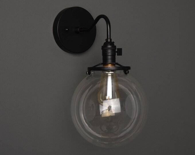 Wall Sconce - Matte Black - Mid Century - Modern - Industrial - Clear 8 Inch Glass Globe - Bathroom Vanity - Art Light - UL Listed [ALTHA]