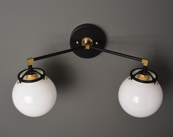 Wall Sconce - Black & Brass - Mid Century - Modern - Industrial - White Glass Globes - Art Light - Bathroom Vanity - UL Listed [ACTON]