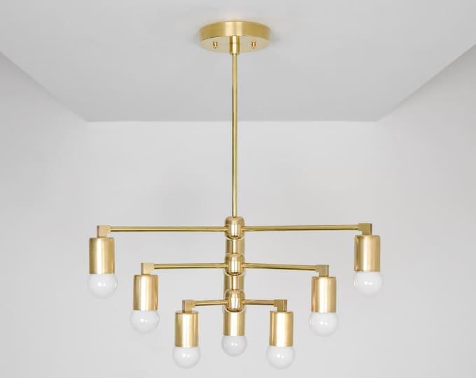 Modern Chandelier Light - Raw Brass - Mid Century - Industrial - Modern - Geometric - Ceiling Light - UL Listed [LONDON]