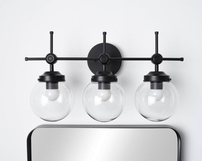 Modern Globe Sconce - Matte Black - Mid Century - Industrial - Wall Light - Glass Globe - Bathroom Vanity - UL Listed [DAYTONA]