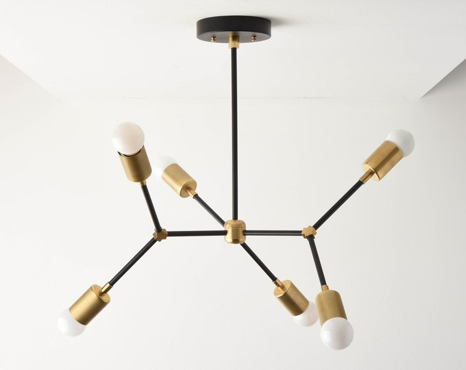 Sputnik Chandelier - Black & Brass - Mid Century - Industrial - Modern - Ceiling Light - Branching Chandelier - UL Listed [PORTLAND]