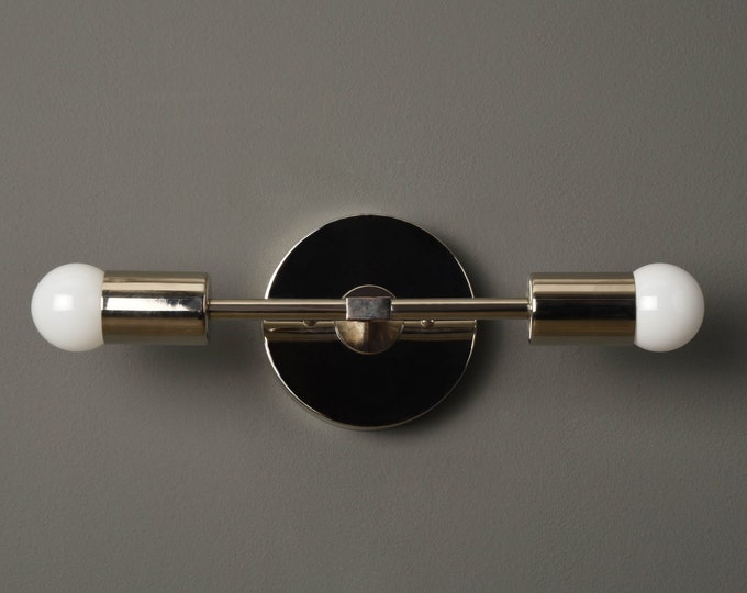 Wall Sconce - Polished Nickel - Mid Century - Modern - Industrial - Wall Light - Bathroom Vanity - UL Listed [SOCORRO]