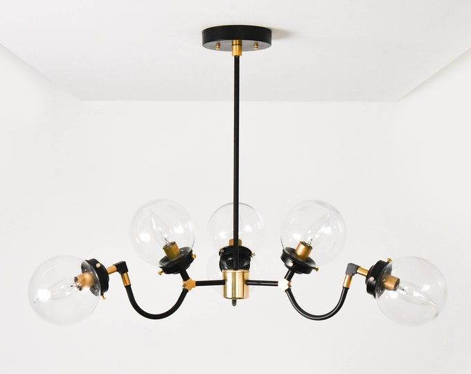 Modern Chandelier Lighting - Black & Gold Hanging Light - Mid Century - Industrial - Candelabra - Clear Globe - Sputnik - UL Listed [LISBON]