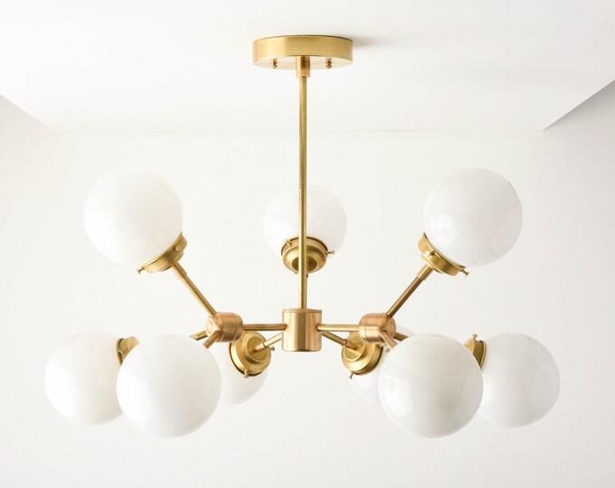 Modern Globe Chandelier - Gold Hanging Light - Mid Century - Industrial - Tree Branch - Globe - UL Listed [STOCKHOLM]