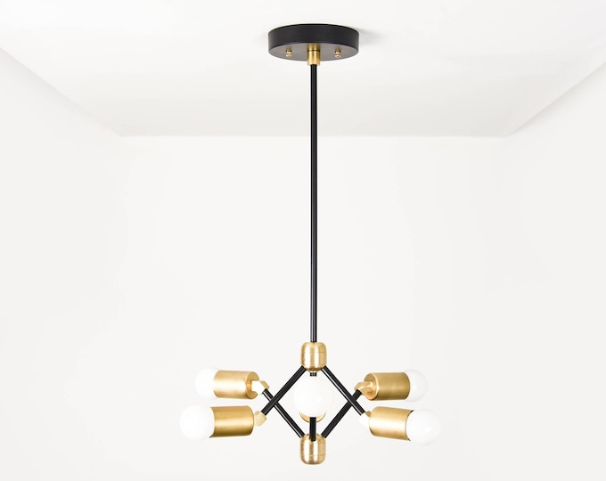 Mid Century Chandelier Lighting - Black & Gold Sputnik Light - Modern Lighting - Industrial - Pinwheel - Minimal - UL Listed [PHOENIX]