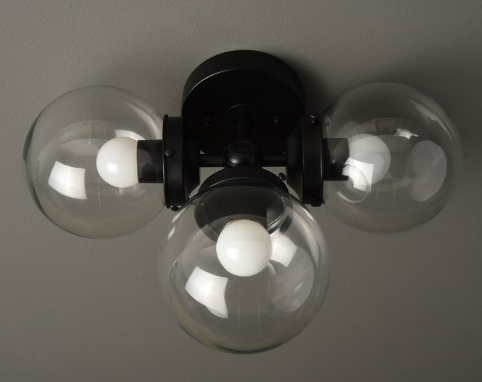 Wall Sconce - Matte Black - Mid Century - Modern - Industrial - Wall Light - Clear 6 Inch Globe - Bathroom Vanity - UL Listed [BASCOM]