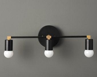 Modern Bathroom Light - Wall Sconce - Black & Brass - Mid Century - Industrial - Wall Light - Bathroom Vanity - UL Listed [AVON]