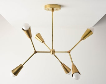 Gold Sputnik Chandelier - Modern Hanging Light - Mid Century - Industrial - Ceiling Light - Branching Chandelier - UL Listed [SEATTLE]