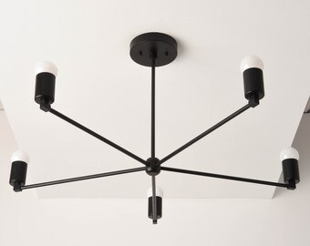 Chandelier - Matte Black - Mid Century - Industrial - Modern - Large - Light - 30 inch - 5 Arm - Pinwheel - Sputnik - UL Listed [OSLO]