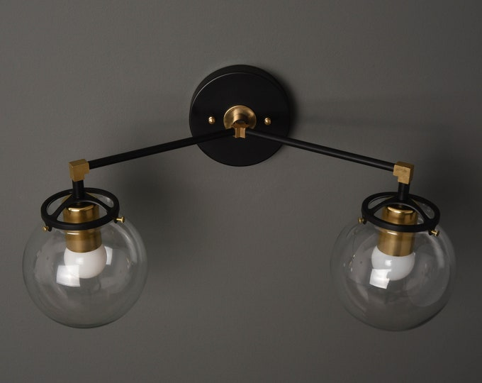 Wall Sconce - Black & Brass - Mid Century - Modern - Industrial - Clear Glass Globes - Art Light - Bathroom Vanity - UL Listed [ACTON]