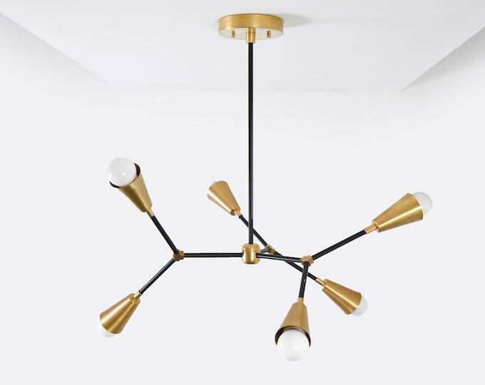 Seattle Chandelier [Black & Brass - Mid Century - Industrial - Modern - Sputnik - Pinwheel - Hanging - Lighting - Tree Branch - UL Listed]