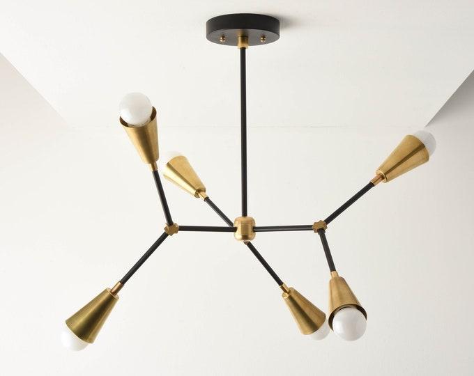 Sputnik Chandelier - Black & Brass - Mid Century - Industrial - Modern - Ceiling Light - Branching Chandelier - UL Listed [SEATTLE]
