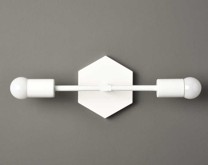 Wall Sconce - Matte White - Mid Century - Industrial - Modern - Art Light - Wall Light - Bathroom Vanity - Hexagon - UL Listed [ATHENS]