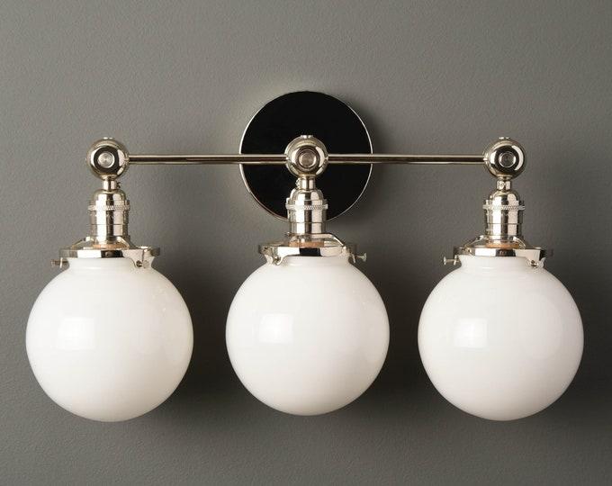 Wall Sconce - Polished Nickel - Mid Century - Modern - Industrial - Bathroom Vanity - 6 Inch Glass Globe - Wall Light - UL Listed[PENSACOLA]