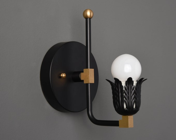 Wall Sconce - Black & Brass - Mid Century - Modern - Industrial - Decorative - Art Light - Bathroom Vanity - UL Listed [ADDISON]