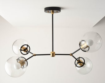 Chandelier - Black & Brass - Mid Century - Industrial - Modern - Sputnik - 2 Arm - 4 Light - 6 inch - Clear Globe - UL Listed [ATLANTA]