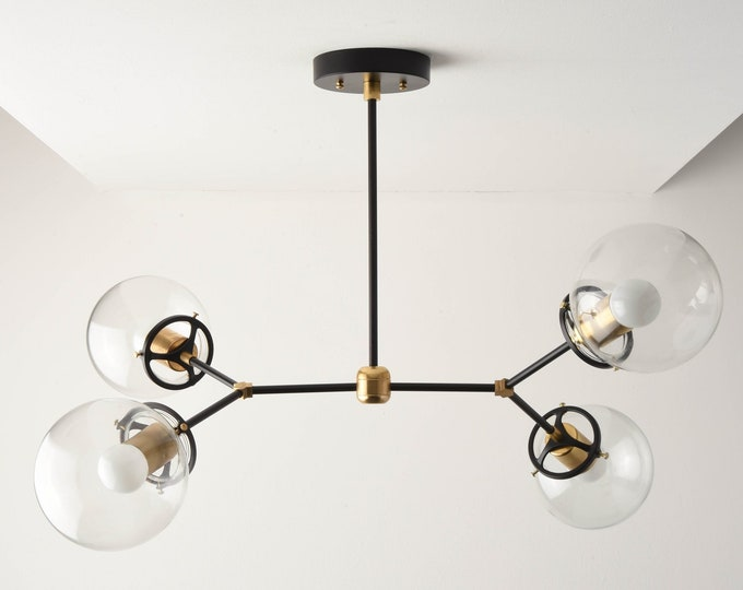 Modern Globe Chandelier - Black & Gold Hanging Light - Mid Century - Clear Globe - Industrial - Sputnik - UL Listed [ATLANTA]